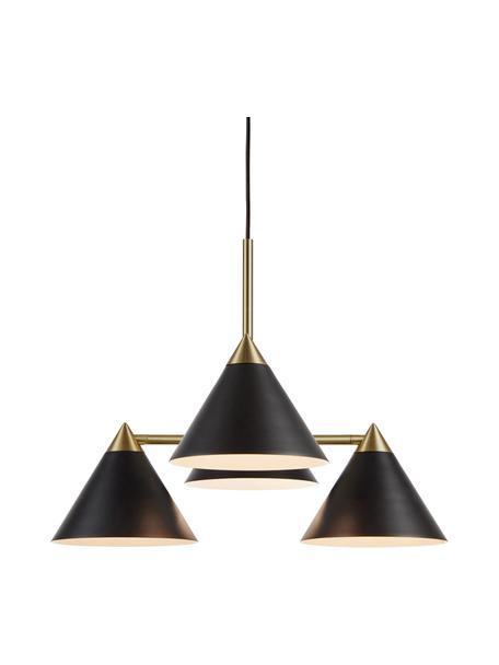 Lámpara de techo Klint, Estructura: metal recubierto, Anclaje: metal recubierto, Cable: cubierto en tela, Negro, dorado, Ø 57 x Al 46 cm