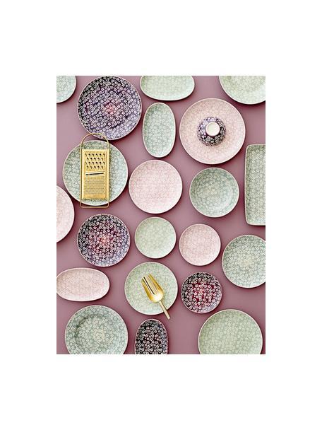 Kommen Seeke met klein patroon, 2-delig, Keramiek, Pruimkleurig, rookblauw, crème, Ø 12 x H 7 cm