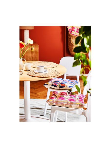 Kleurrijk stoelkussen Maria, Bovenzijde: multicolour. Onderzijde: beige, 40 x 40 cm