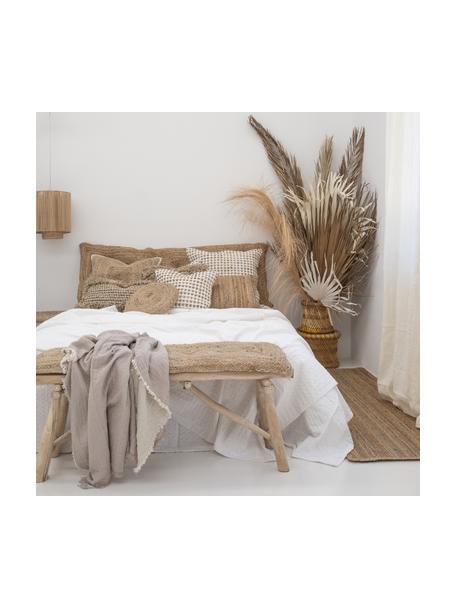 Poszewka na poduszkę z detalami z juty Fiesta, 55% bawełna, 45% juta, Biały, beżowy, S 45 x D 45 cm