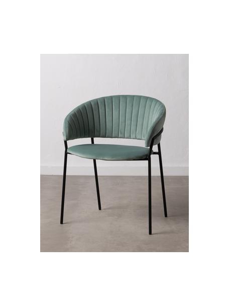 Sedia imbottita in velluto verde Room, Rivestimento: 100% velluto di poliester, Struttura: metallo rivestito, Menta, Larg. 53 x Prof. 58 cm