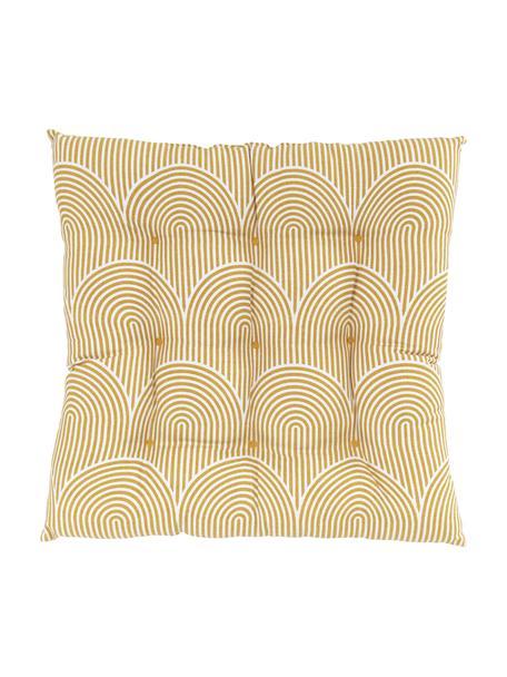 Sitzkissen Arc in Gelb/Weiss, Bezug: 100% Baumwolle, Gelb, 40 x 40 cm