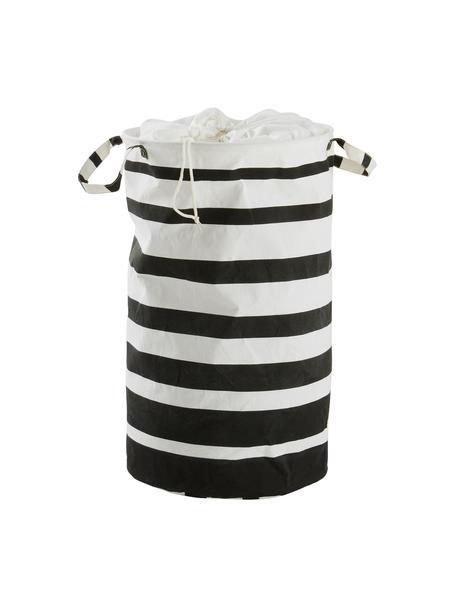 Wäschekorb Amore, Baumwolle, Polypropylen, Schwarz, Weiß, Ø 40 x H 70 cm