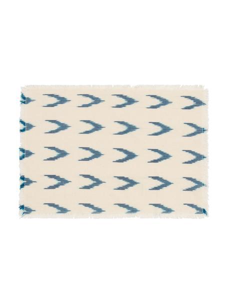Baumwoll-Tischset Cala mit blauem Boho-Muster, 100% Baumwolle, Blau, Weiß, 35 x 50 cm