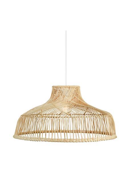 Lámpara de techo grande de ratán Bali, Pantalla: ratán, Anclaje: metal recubierto, Cable: cubierto en tela, Beige, Ø 72 x Al 37 cm