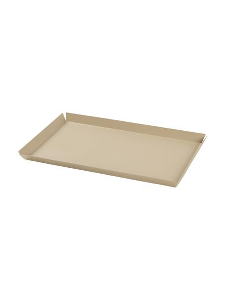 Deko-Tablett Erika in Beige, L 33 cm, B 21 cm, Metall, beschichtet, Beige, 21 x 33 cm