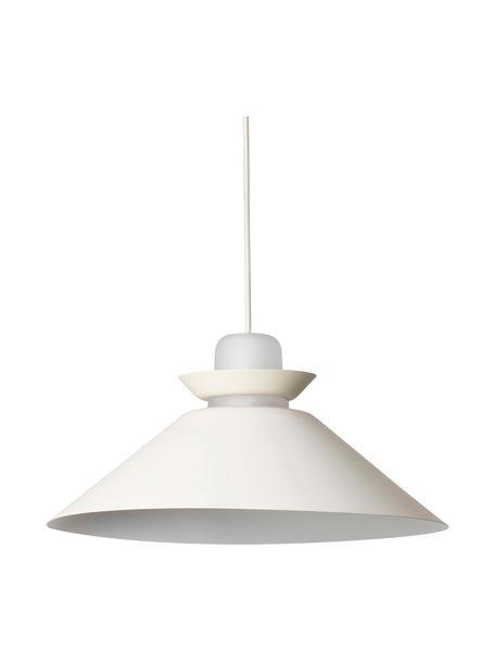Scandi hanglamp Naos met glazen decoratie, Lampenkap: gecoat metaal, Diffuser: opaalglas, Gebroken wit, Ø 40 x H 12 cm