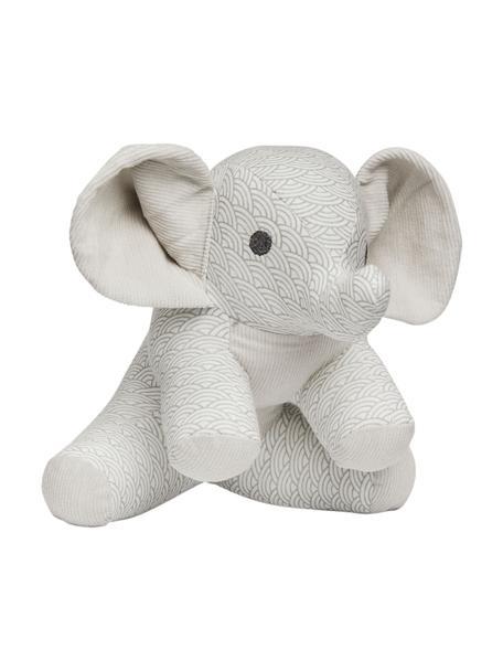 Peluche elefante in cotone organico Elephant, Grigio, bianco, grigio chiaro, Larg. 20 x Alt. 21 cm