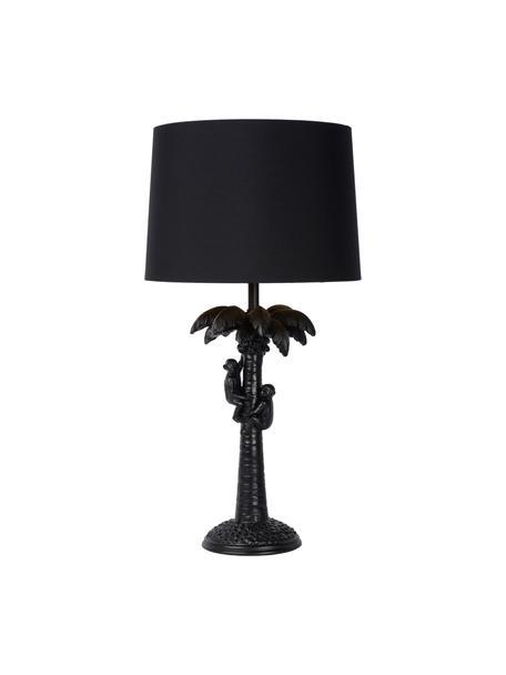 Boho-Tischlampe Coconut in Schwarz, Lampenschirm: Baumwolle, Lampenfuß: Kunststoff, Schwarz, Ø 31 x H 58 cm