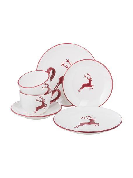 Handbeschilderde koffieservies Classic Red Deer, 2 personen (6-delig), Keramiek, Bordeauxrood, wit, Set met verschillende formaten