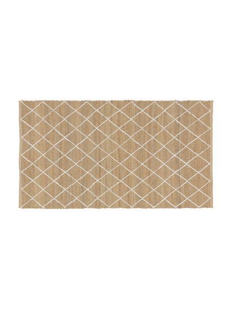 Ręcznie wykonana wycieraczka z juty Kunu, 100% juta, Beżowy, biały, S 50 x D 80 cm
