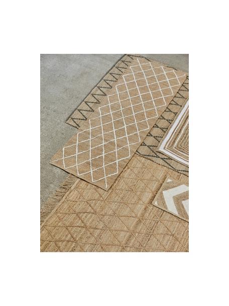 Handgemaakte juten deurmat Kunu, 100% jute, Beige, wit, 50 x 80 cm