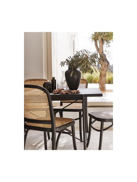Tavolo con piano in legno nero Mica, Struttura: metallo verniciato a polv, Finitura in legno di quercia nero verniciato, Larg. 140 x Prof. 90 cm