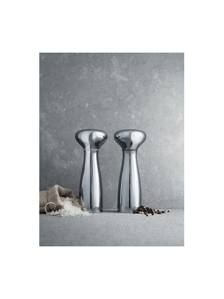 Design zout- en pepermolenset Alfredo, 2-delig, Grinder: AllGrind keramische techn, Edelstaalkleurig, glanzend, Ø 8 x H 20 cm