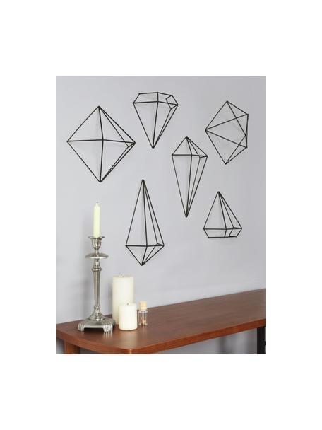 Wandobjekte-Set Prisma aus lackiertem Metall, 6-tlg., Metall, lackiert, Schwarz, Set mit verschiedenen Grössen