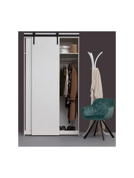 Kledingkast Luuk, Frame: gelakt grenenhout, Onderzijde: hardboard, Wit, 115 x 218 cm