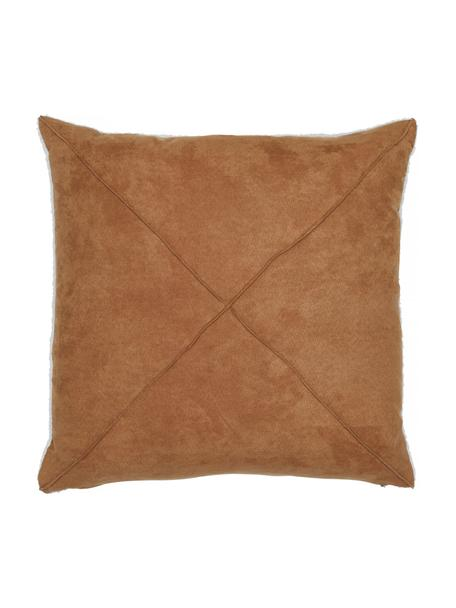 Poszewka na poduszkę z imitacją skóry Teddy Tahoe, 100% poliester, Jasny brązowy, S 50 x D 50 cm