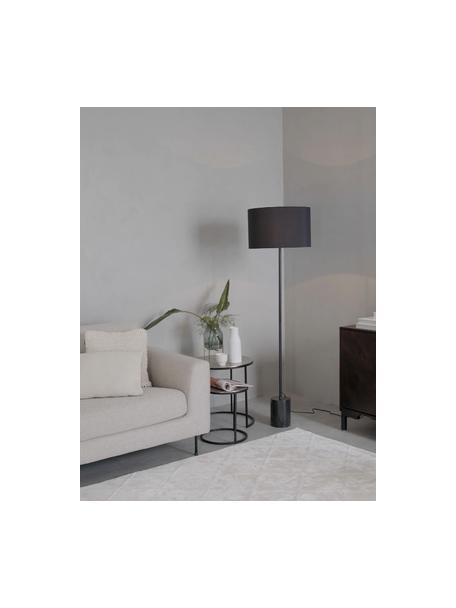 Stehlampe Cody mit Marmorfuss, Lampenschirm: Textil, Gestell: Metall, pulverbeschichtet, Schwarzer Marmor, Ø 45 x H 159 cm