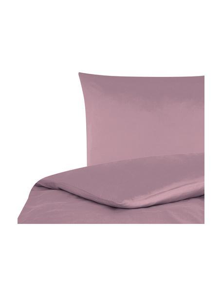 Pościel z satyny bawełnianej Comfort, Mauve, 155 x 220 cm + 1 poduszka 80 x 80 cm