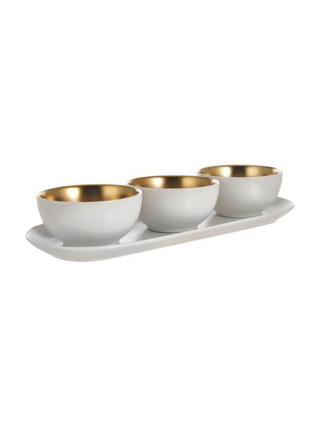 Dipschälchen Glitz in Weiss/Gold, 4er-Set, Steingut, Weiss, Goldfarben, Ø 11 x H 6 cm