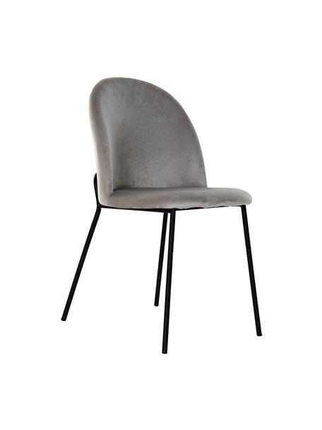 Sedia imbottita in velluto Carl, Rivestimento: 100% velluto di poliester, Gambe: metallo rivestito, Grigio chiaro, Larg. 44 x Prof. 53 cm