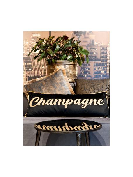 Langes Samt-Kissen Champagne mit Aufschrift, mit Inlett, Polyestersamt, Schwarz, Goldfarben, 30 x 80 cm