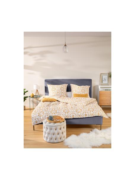 Łóżko tapicerowane z aksamitu Peace, Korpus: lite drewno sosnowe i pły, Tapicerka: poliester (tkanina strukt, Nogi: metal malowany proszkowo, Ciemny szary, S 140 x D 200 cm