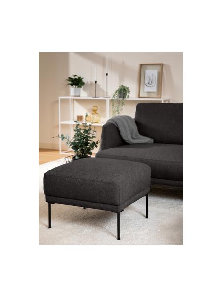 Poggiapiedi da divano in tessuto grigio scuro Fluente, Rivestimento: 100% poliestere Con 40.00, Struttura: legno di pino massiccio, Piedini: metallo verniciato a polv, Tessuto grigio scuro, Larg. 62 x Alt. 46 cm