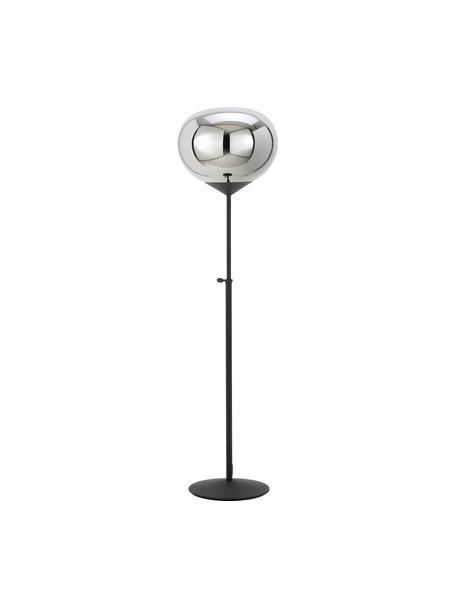 Lampada da terra con paralume in vetr cromato Drop, Paralume: vetro cromato, Base della lampada: metallo verniciato, Argento, nero, Ø 36 x Alt. 164 cm