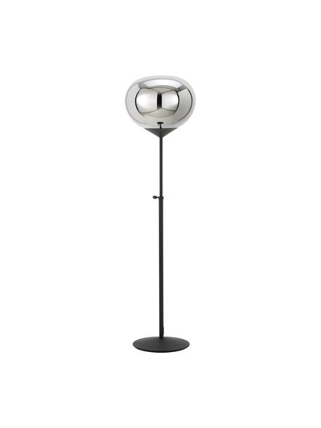 Vloerlamp Drop van verchroomd glas, Lampenkap: verchroomd glas, Lampvoet: gelakt metaal, Chroomkleurig, zwart, Ø 36 x H 164 cm