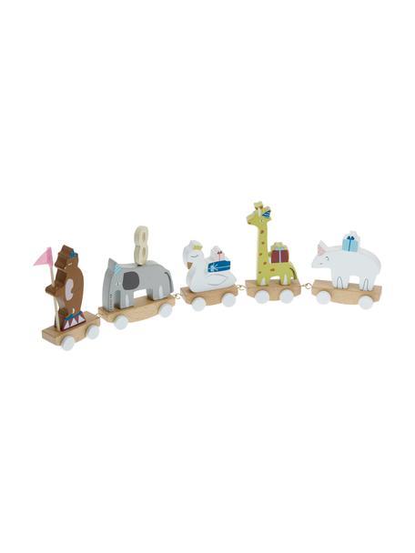 Verjaardag decoratie Happy Animals, Beukenhout MDF, multiplex, lotushout, metaal, vilt, Multicolour, 50 x 16 cm