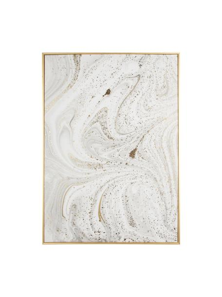 Cuadro enmarcado Marble, Blanco, gris, dorado, An 50 x Al 70 cm