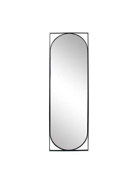 Specchio da parete con cornice in metallo nero Azurite, Cornice: metallo rivestito, Superficie dello specchio: lastra di vetro, Nero, Larg. 37 x Alt. 117 cm