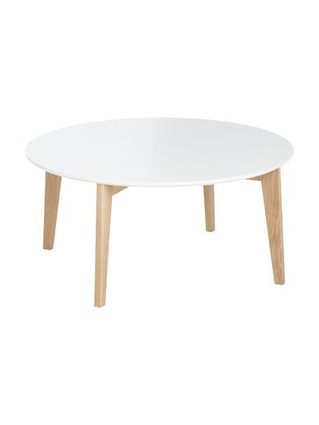 Runder Couchtisch Lucas im Skandi Design, Tischplatte: Mitteldichte Faserplatte , Beine: Eichenholz, Weiß, Eiche, Ø 90 x H 42 cm