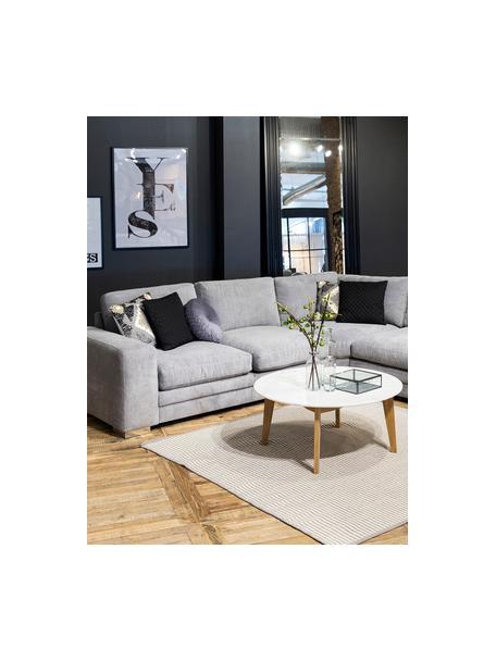 Runder Couchtisch Lucas im Skandi Design, Tischplatte: Mitteldichte Faserplatte , Beine: Eichenholz, Weiss, Eiche, Ø 90 x H 42 cm