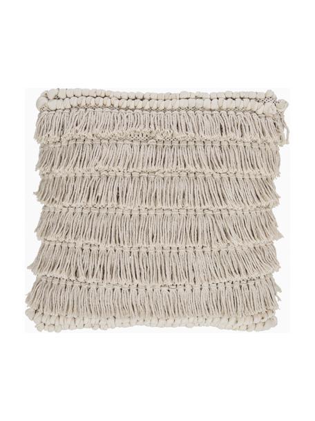 Boho Kissen Tallara, mit Inlett, Bezug: 100% recycelte Baumwolle, Hellbeige, 45 x 45 cm