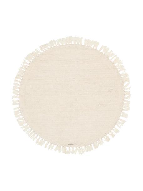 Rond wollen vloerkleed Alma in crème met franjes, Crèmekleurig, Ø 126 cm (maat M)