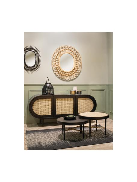 Salontafel Exalt met Weens vlechtwerk, Frame: massief gelakt eikenhout, Tafelblad: rotan, Zwart, beige, Ø 60 x H 39 cm