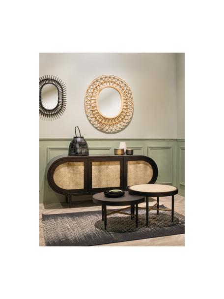 Tavolino da salotto con intreccio viennese Exalt, Struttura: legno massiccio di querci, Nero, beige, Ø 60 x Alt. 39 cm