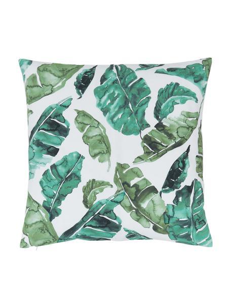 Kussenhoes Shade met blad motief, 100% katoen, Groen, wit, 45 x 45 cm