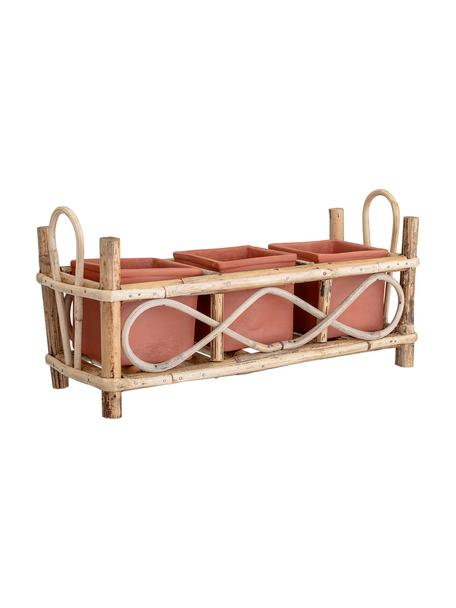 Set portavasi in terracotta Overo 4 pz, Portavasi: terracotta, Struttura: canna, Rosso terracotta, beige, Larg. 25 x Alt. 39 cm
