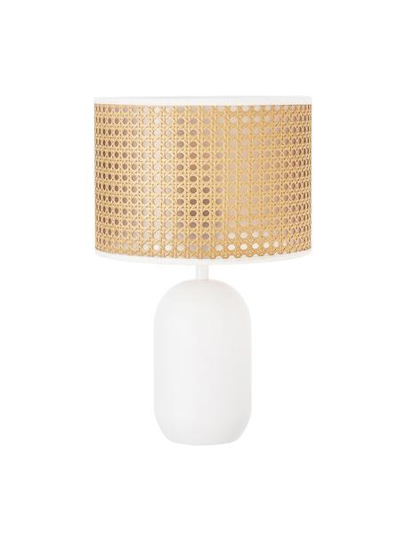 Lámpara de mesa con tejido vienés Vienna, Pantalla: plástico, Cable: tela, Beige, blanco, ∅ 25 x Al 40 cm