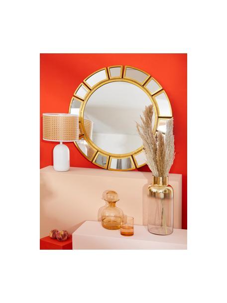 Tafellamp Vienna van Weens vlechtwerk, Lampenkap: kunststof, Lampvoet: gepoedercoat metaal, Lampenkap: beige, wit. Lampvoet: mat wit. Snoer: wit, Ø 25 x H 40 cm