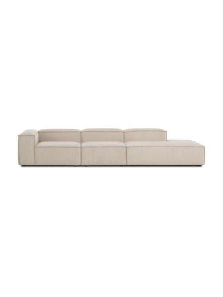 Sofá modular de pana Lennon (3plazas), Tapizado: pana (92%poliéster, 8%p, Estructura: madera de pino maciza, ma, Patas: plástico Las patas están , Pana beige, An 357 x F 119 cm