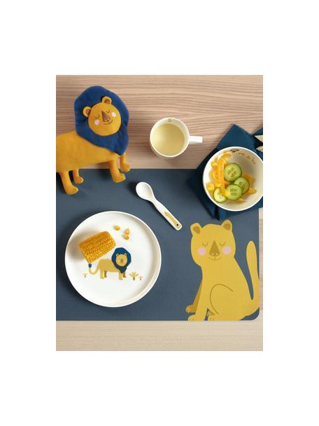 Placemats Leo Lion, 2 stuks, PVC met leren look, Blauw, geel, 33 x 46 cm