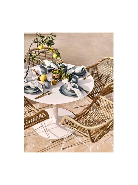 Sillas con reposabrazos Costa, 2uds., Asiento: polietileno, Estructura: metal con pintura en polv, Beige, patas blanco, An 59 x F 58 cm