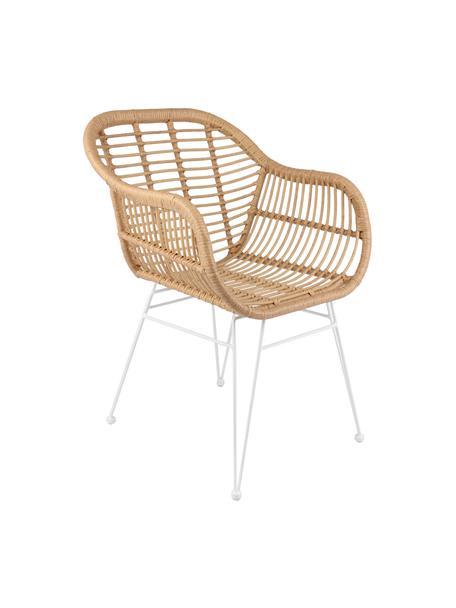 Krzesło z podłokietnikami z polirattanu Costa, 2 szt., Stelaż: metal malowany proszkowo, Jasny brązowy, nogi: biały, S 59 x G 58 cm