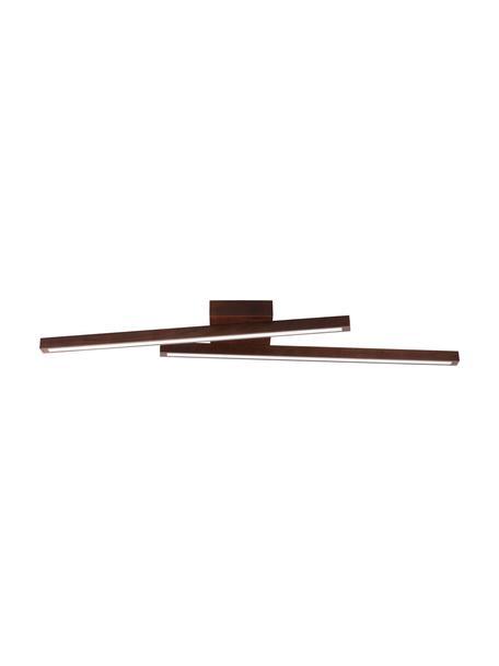 Lampada da soffito a LED in legno Linus, Paralume: legno di faggio, Baldacchino: legno di faggio, Marrone scuro, Larg. 88 x Alt. 7 cm
