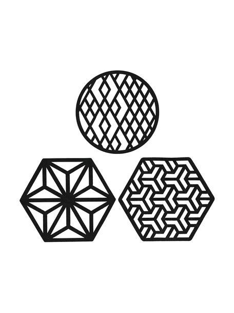 Set de posavasos Rama, 6pzas., Cuero sintético, Negro, Ø 9 x Al 2 cm