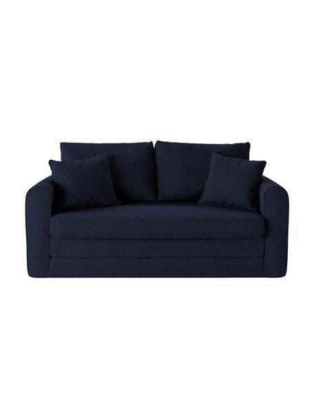 Sofá cama Lido (2plazas), Tapizado: poliesto con tacto de lin, Estructura: madera de pino maciza, ag, Patas: plástico, Azul oscuro, An 158 x F 69 cm
